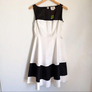 Kate Spade Boatneck Fit & Flare Dress Black White